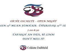 Oíche Oscailte / Open Night 15ú Meán Fómhair 2016