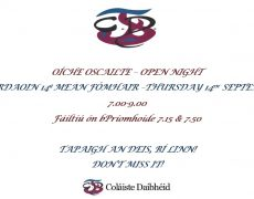Oíche Oscailte 14ú Meán Fómhair / Open Night September 14th